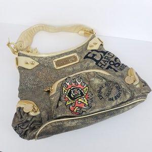 Ed Hardy Shoulder Bag Gold EUC